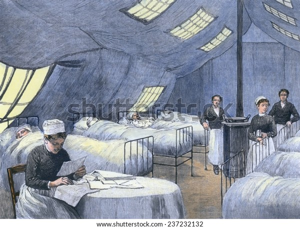 Asian Flu epidemic of 1889-90 In Paris patients are treated in a supplemental tent hospital A nurse attends to several patients during the winter of 1889-90.