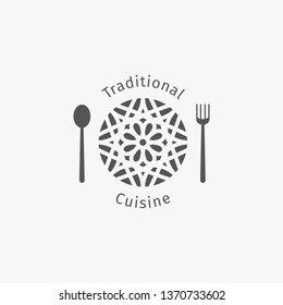 Asian food logo template. Ethnic ornamental design for restaurants and cafes.