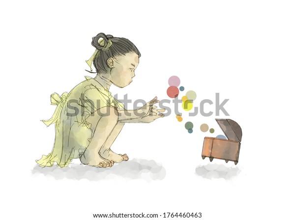 アジアの女の子と宝箱