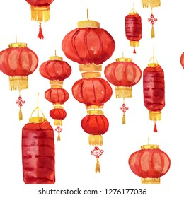 Asian lanterns seamless pattern. Seamless watercolor background. Watercolor painting.