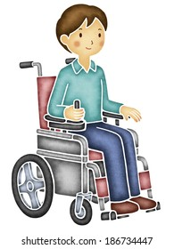 Asian man on electric wheelchair