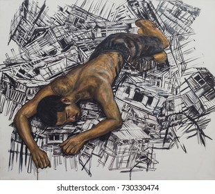 Asian man reclining on damage wooden house,acrylic painting and black ink on canvas