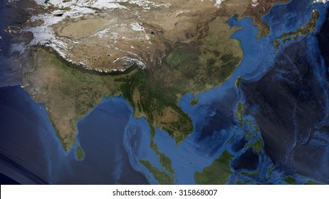 Asian Map Space View (Elements of this image furnished by NASA)