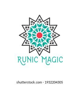 Asian ornamental emblem. Oriental geometric logo template. Abstract arabic star mosaic symbol