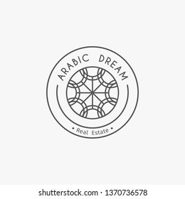 Asian real estate logo template. Ethnic ornamental design for agency, house and apartment rental, construction services or apartment repairs.