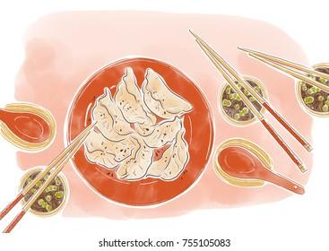 Asian traditional food, dumplings,food illustration