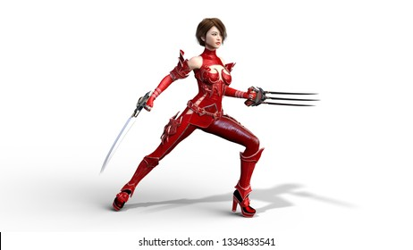 Asian warrior girl with claw blades performing martial arts, fighting woman in battle armor holding scythe weapon, isolated on white, 3D rendering