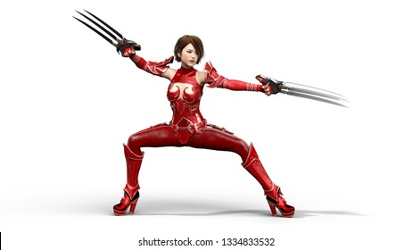 Asian warrior princess with claw blades, fantasy fighter girl in battle armor holding scythe blades, isolated on white, 3D rendering