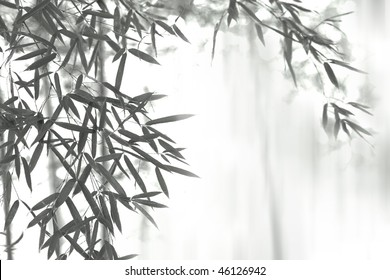 Asian wash painting style (sumi-e) style bamboo forest.