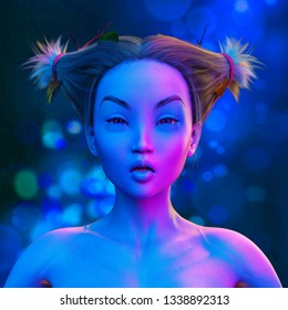 asian woman doing a sultry face in colorful bright neon lights posing in studio 3d illustration