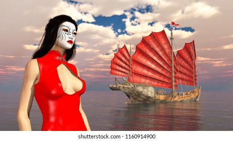 Asian woman with theatrical makeup and Chinese junk ship Computer generated 3D illustration
