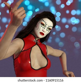 Asian woman with theatrical makeup in Chinese women clothes Computer generated 3D illustration