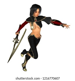 Asian woman warrior running with scythe weapon in hand. Isolated on white. 3D rendering.
