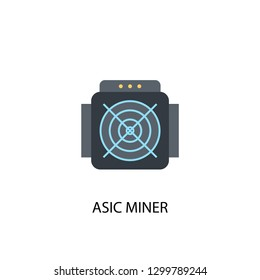 ASIC Miner concept flat icon. Simple element illustration. ASIC Miner concept symbol flat design from Cryptocurrency set. Can be used for presentation and video design