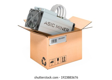 ASIC miner inside cardboard box, delivery concept. 3D rendering isolated on white background