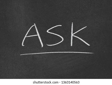 ask concept word on blackboard background