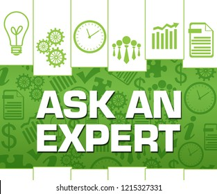 Ask and expert text written over green background.