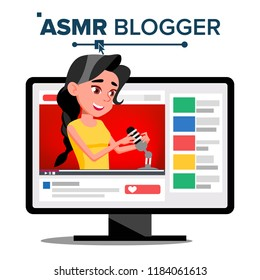 ASMR Blogger Channel. Girl. Enjoying Sound. Video Blog Channel. Isolated Illustration