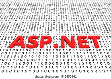 ASP NET in the form of binary code, 3D illustration