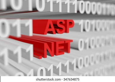 asp net presented in the form of a binary code with blurred background 3d illustration