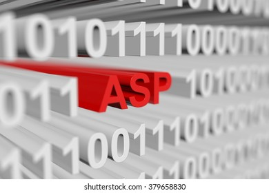 ASP is represented in the form of a binary code with blurred background 3d illustration