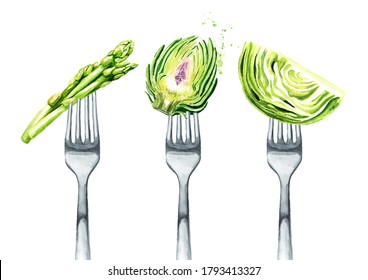 Asparagus, cabbage, artichoke on a fork. Concept of diet and healthy eating. Hand drawn watercolor illustration isolated on white background