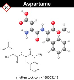 Aspartame - artificial sweetener, chemical model and molecular structure, E951 food additive, 2d and 3d illustration, isolated on white background, raster