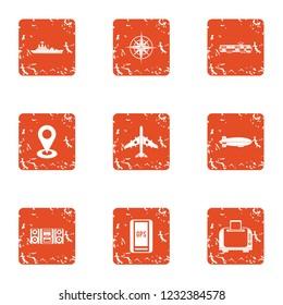 Aspect icons set. Grunge set of 9 aspect icons for web isolated on white background