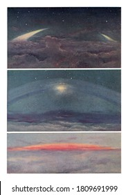 Aspect of the ring of Saturn seen from different points of the sphere of Saturn, From the Universe and Humanity, 1910.