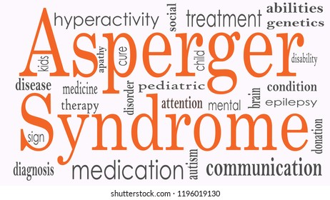 Asperger syndrome word cloud collage, health concept