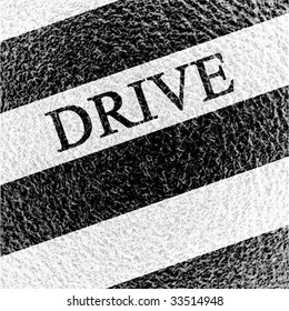 Asphalt background texture with drive written on it