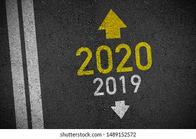 Asphalt and chalkboboard illustration with  2019 and 2020