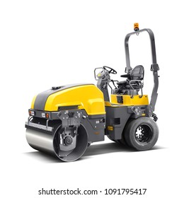 Asphalt Roller Isolated on White Background. Articulated Compact Tandem Roller. Road Making Machine. Yellow Steamroller. 3D Rendering. Side View of Heavy Construction Machinery. Construction Truck