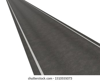 Asphalt texture with white line on white background.3d rendering
