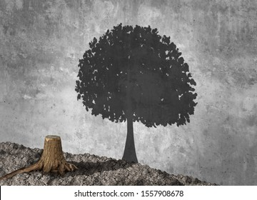 Aspiration concept and ambition idea as a chopped trunk casting a shadow of a tree as an achievement recovery and hope for futur success symbol in a 3D illustration style.