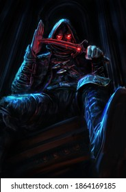 An assassin with a dagger sits on top of a gothic building in the moonlight, he is a hooded vampire piercing his podon through with a curved dagger, his eyes glowing with blood. 2d illustration