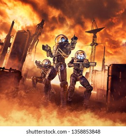 Assault on Arcturus / 3D illustration of science fiction scene showing heroic space marine astronauts with laser pulse rifles advancing through blazing inferno on alien planet