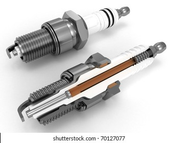 Assembly and sliced spark plugs 3D rendered isolated on white