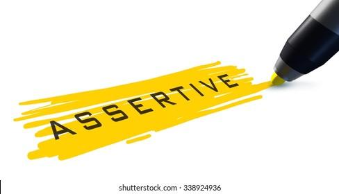 Assertive word.