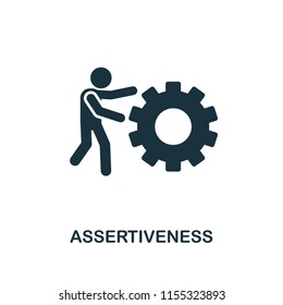 Assertiveness creative icon. Simple element illustration. Assertiveness concept symbol design from soft skills collection. Can be used for mobile and web design, apps, software, print.