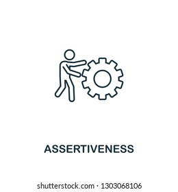 Assertiveness icon. Thin outline creativeAssertiveness design from soft skills collection. Web design, apps, software and print usage.