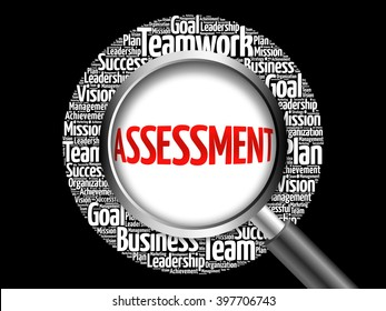 ASSESSMENT word cloud with magnifying glass, business concept