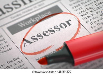 Assessor - Job Vacancy in Newspaper, Circled with a Red Highlighter. Assessor. Newspaper with the Jobs, Circled with a Red Marker. Blurred Image. Selective focus. Concept of Recruitment. 3D Render.
