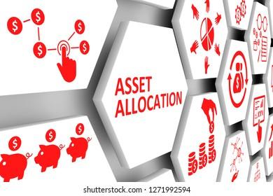 ASSET ALLOCATION concept cell background 3d illustration