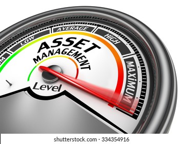 asset management level to maximum conceptual meter, isolated on white background