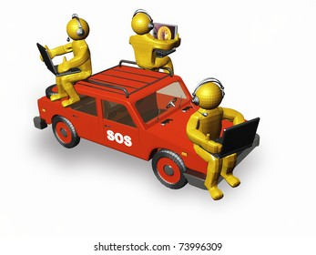 Assistance command - yellow mans with laptops and auto.