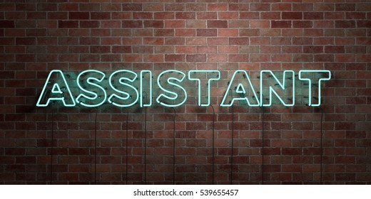 ASSISTANT - fluorescent Neon tube Sign on brickwork - Front view - 3D rendered royalty free stock picture. Can be used for online banner ads and direct mailers.