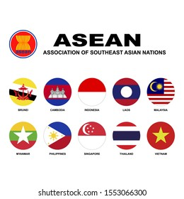Association of Southeast Asian Nations(ASEAN). Flags of membership countries. Abstract concept, icon set. Raster illustration on white background.