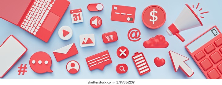 assorted 3d icons. abstract social media, technology design banner. 3d rendering