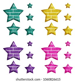 Assorted color brick textured set of star shape design elements 3D illustration in teal yellow purple & pink with a colorful brick wall style isolated on a white background with clipping path.